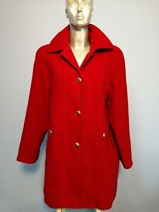Vintage Size 14 Red Button Up Smart Wool Warm Coat Jacket In Excellent Condition