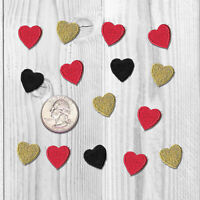 Iron On Tiny Heart Patches, Red, Black, & Gold Heart Patch Applique Multi Packs