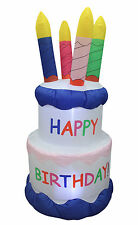 6 Foot Tall Led Air Blown Inflatable Yard Decoration Birthday Cake with Candles