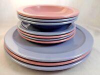 10 Pc Vintage Dallas Ware Texas Ware Pink Blue Bowls Side Plates Melmac Melamine