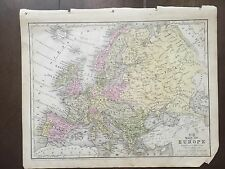 "Hand-Colored Map of Europe  (1855)-""Mitchell's School Atlas"""