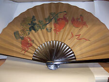 """Vintage 40"""" wide Asian Folded Fan VGC Crab Motif 20"""" tall with original box"""