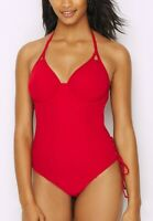 Miss Mandalay RUBY RED Icon Underwired Halter One-Piece Swimsuit, US 36G, UK 36F