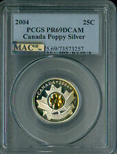 2004 CANADA SILVER / GOLD POPPY  25 CENTS PCGS MAC PR69 ULTRA HEAVY CAM SPOTLESS