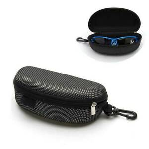 Unisex Portable Zipper Eye Glasses Sunglasses-Clam Shell Hard Case Protector Box