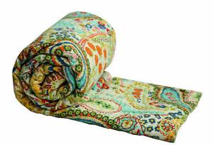 Blanket Indian Kantha Quilt Beige Paisley Reversible Twin Bedspread Ralli Throw