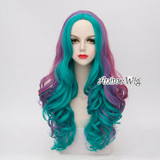 65CM Lolita Long Turquoise Mixed Purple Braid Ombre Heat Resistant Cosplay Wig