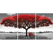 Large HD Unframed Red Tree Canvas Prints Painting Wall Art Home Decor 3pcs New