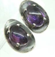 Hallmarked TAXCO Mexico Amethyst Modernist Concave 925 Sterling Silver Earrings