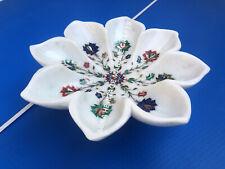 "12"" White Marble Fruit Decorative Bowl Multi Marquetry Inlay Kitchen Decor E1154"