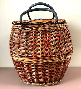 Soviet Vintage Woven Wicker Basket With Lid & Handles Farmhouse Boho Decor USSR