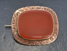 Antique 9ct ROSE GOLD & CARNELIAN Fine Flowers Engraved Border BROOCH / PIN