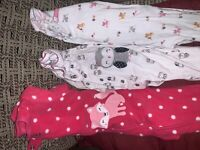 Lot/3~ Child of Mine~Carter's Baby Girls FootedPajama Sleepers-SIZE 3-9 MONTHS