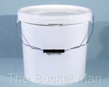 5 x 5 L Ltr Litre White Plastic Buckets Containers with Lids & Metal Handles
