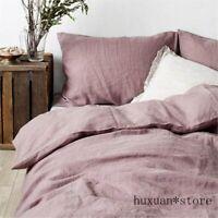 Stone Washed 100% Natural Linen Grey Purple Bedding Set Duvet Cover  Sheet 2020