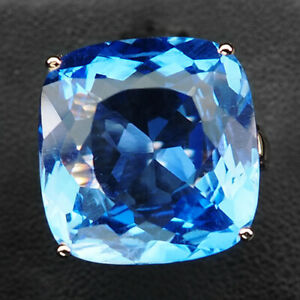 TOPAZ BLUE ANTIQUE 22.70 CT.SAPP 925 STERLING SILVER ROSE GOLD RING SZ 6.25 GIFT