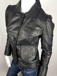 Size 8 Black Genuine Real Leather Jacket Button Up Biker Rocker