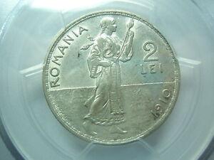 ROMANIA 2 lei 1910 PCGS AU 55 UNC Carol Silver