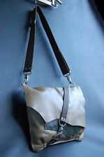 OoAK-MODERN ART-HAND-CRAFTED Olive Khaki LEATHER Cross Body Shoulder Bag UNI-SEX