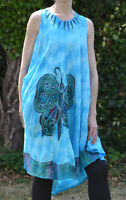 LADIES COTTON WATERFALL SLEEVELESS TUNIC DRESS - BUTTERFLY GRAPHIC ONE SIZE