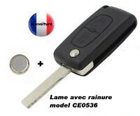 Clé Peugeot 107 207 307 308 407 807 CE0536 france avec pile et lame rainuré