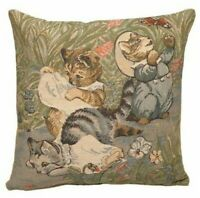 "NEW 14"" BEATRIX POTTER THREE KITTENS BELGIAN TAPESTRY CUSHION COVER 873"
