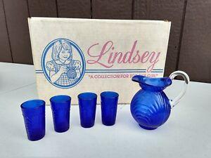 Vintage Mosser Glass Lindsay pitch and 4 glasses, cobalt color