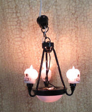 Dollhouse Miniature Halloween Skull OOAK Chandelier Skeleton Haunted Light Lamp