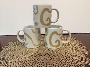 3 Oscar de la Renta White Gold Designer Coffee Cup Mug