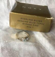 Vintage Avon Ring Sterling Silver Genuine Blue Topaz Bypass (7) 2000