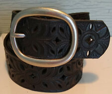 FOSSIL Belt Black Perforated Leather Embossed Size S 38 Inches x 1 1/2