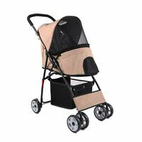 Foldable Pet Dog Cat Puppy Stroller Carrier 4-Wheel Cart Travel Outdoor Supplies