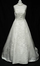 Ivory Embroidered Satin A Line Big Train Beaded Wedding Dress Cosplay 8-10 396