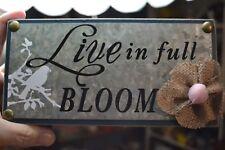 METAL+RESIN BLUE BLOCK SIGN SAYING LIVE IN FULL BLOOM W/BIRD & FLOWER HOME DECOR