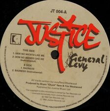 """GENERAL LEVY dem no wicked like we JT 004 uk justice 1992 12"""" WS EX/"""