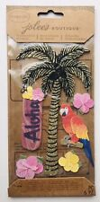 NIP GLITTER PALM TREE TROPICAL THEMED JOLEE'S BOUTIQUE PARCEL STICKERS PARROT