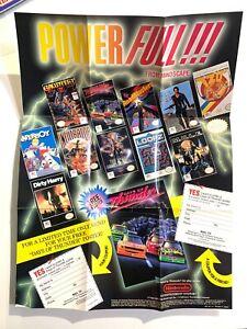 RARE! Original Nintendo NES Power Full! Mindscape 1990 Promo Poster/Insert