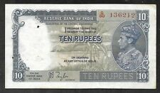 India - Old 10 Rupees Note - 1937 - P19a - XF w/holes