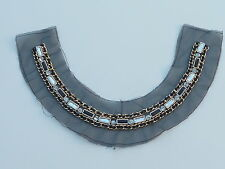 BEAUTIFUL QUALITY BLACK, SILVER & GOLD BEADED COLLAR/ NECKLINE - SEW ON