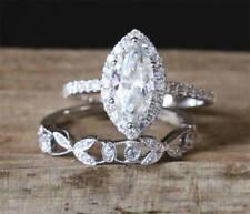 Set Engagement Ring 14K White Gold 2.35 Ct Marquise Cut Near White Moissanite