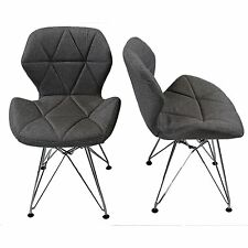REBOXED 2x Charles Jacobs Dining Office Chair Chrome Metal Leg Fabric Grey