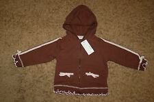 Girl's Greendog Ruffled Hem Long Sleeve Hoodie Brown Pink Size 24 Months Nice!