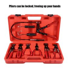 9pcs Hose Clamp Clip Remover Plier Set Swivel Jaw Flat Angled Automotive Tool