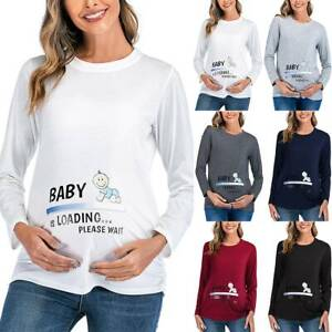 Pregnant Womens Funny Baby Print Top Maternity T-Shirt Blouse Casual Tee Shirt