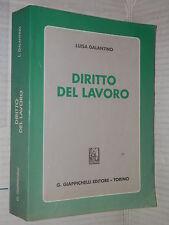 DIRITTO DEL LAVORO Luisa Galantino Giappichelli 1996 libro giuridica manuale di