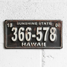 Retro Hawaii Car License Plate Metal Tin Sign Plaque Vintage American Wall Art