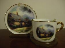 "Thomas Kinkade ""Moonlight Cottage"" Plate and Cup w Display Stand Excellent"