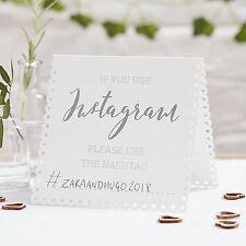 Carpa Blanca Instagram signos Boda Fiesta Decoración De Mesa X 5 Hermoso botánica