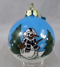 Oakland Raiders Football - Snowman - Glass - Christmas Ball Ornament