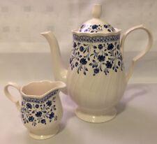 "Vintage Nikko Blue & White Chatham Coffee Pot & Creamer Japan 9.5"" Tall, 4"" Tall"